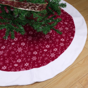 Aytai Non-woven Christmas Tree Skirt 120cm , Traditional Red and White Snowflakes Tree Skirt for Christmas Decorations