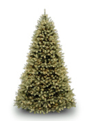 """National Tree 2.3m """"Feel Real"""" Downswept Douglas Fir Tree with 750 Dual Colour LED Lights and On/Off Switch, Hinged"""