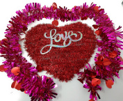 Happy Valentine's Day Wall Plaques Home Decor Decoration Decorations Tinsel Heart Love with Tinsel Garland, 2.7m Strands