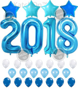 2018 Blue with Blue Stars Set 2018 Blue Balloons for New Years Eve and Graduations Party Supplies - Large, 2018 New Years Eve Party Supplies Decorations - Graduation Party Supplies