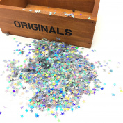 HUELE 15000PCS Shining Star Confetti Glitter Star Sequins for Crafts DIY Nail Art and Party Decoration, Holographic Silver
