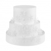 GEORLD 48pcs Wafer White Edible Snowflakes Cupcake & Cake Toppers Decoration for Winter Party