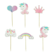Unicorn Cupcake Toppers Rainbow Heart Crown Cake Toppers Themed Party Decorative 24pcs Pink by SHXSTORE