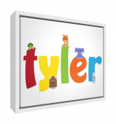 Feel Good Art Boy's Name Framed Box Canvas with Solid Wooden Surround in Cute Illustrative Design