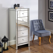 Mirrored Bedroom Furniture, Happy Beds Seville Silver Narrow 5 Drawer Chest - Height 123 cm, Width 50 cm, Depth 44 cm