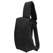 One Shoulder Backpack, Double Zip and Shoulder Strap Buckle, for Outdoor Cycling Oxford black, by LC Prime