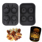 3D Skull Flexible Silicone Ice Cube Mould Tray, Makes Four Giant Skulls, Round Ice Cube Maker, Black (Size