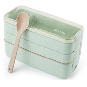 Haodasi 3 Layer Lunch Box with Spoon Adults Kids Boys Student Leakproof Bento Box Containers Freezer Dishwasher Microwave Safe Sealed Lunch Box