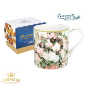 CARMANI - Fine Bone China Mug for Tea, Coffee in a Gift Box with Vincent Van Gogh - Vase with roses 380 ml