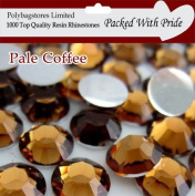 Pack of 1000 x Premium Quality Coffee 5mm Crystal Flat Back Rhinestone Diamante Gems *Factory Sealed & Labelled*
