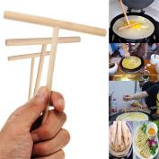 Pizies 3Pcs Wood Crepe Pancake Maker Dough Distributor Rake Batter Spreader Crepe Spreader DIY Kitchen Tool