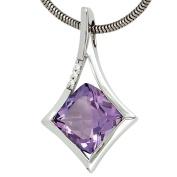 Jewellery Pendant with Amethyst & 3 Diamonds Diamonds 585 white gold Women's