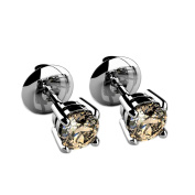 Beautiful Top Quality Champagne Diamond Stud Earrings, 9k White Gold - Screw Back