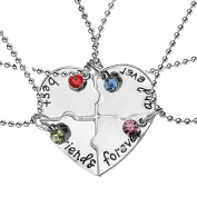 """Elegant Rose Sets of 4 Alloy Friendship Necklaces """"best friends forever and ever"""" with Heart Pattern Creative Necklace Gift for Friends Girls"""