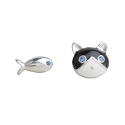 findout ladies sterling silver cat love fish fashion earrings , for women girls children.