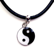 Enamelled yin yang ying yan tao leather choker necklace chocker handmade in and dispatched from UK