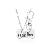 Best Friend Dog Tag Necklace set, dog lover , Bone dogs best friends jewellery , gold or silver