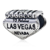 Soulbead Welcome to Las Vegas Nevada Charm 925 Sterling Silver Travel Bead Fits Major Brand European Bracelet