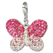 SilberDream Glitter Charm with Elements butterfly pink ICE - 925 Sterling Silver Charms Pendant with Lobster Clasp for Charms Bracelet, Necklace or Earring GSC003