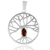 DTPSilver - 925 Sterling Silver and Garnet Celtic Celtic Tree of Life Pendant