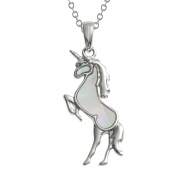 Kiara Jewellery Unicorn Pendant Necklace Inlaid With Mother of Pearl on 46cm Trace Chain. Non Tarnish Silver Colour Rhodium plated.