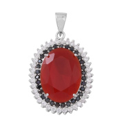 AAA Simulated Ruby , Cubic Zirconia, Boi Ploi Black Spinel Pendant in Rhodium Plated Sterling Silver