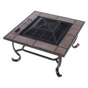 Outsunny 90cm . Square Metal Wood Burning Fire Pit