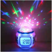 Sky Star Night Light Projector Lamp Bedroom Sleep Digital Alarm Clock With Music Backlight Calendar Thermometer Birthday Gift for Kids Children Baby Infants Boys Girls