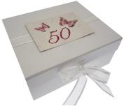 White Cotton Cards Small 50th Birthday Butterflies Keepsake Box