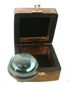 Floating Glass Period Style compass complete with secure hardwood box box