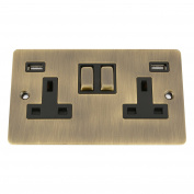 USB Socket 2 Gang - Flat Period Antique Dark Brass