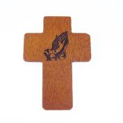 Praying hands brown wooden 5cm pocket crucifix Christian gift lasered cross