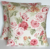 2 x SAGE GREEN CREAM BEIGE & PINK VINTAGE STYLE FLORAL PRINT CUSHION COVERS 41cm