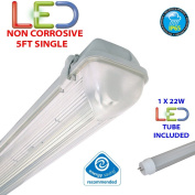 1.5m SINGLE LED 22W - NON CORROSIVE WEATHERPROOF FLUORESCENT LIGHT FITTING - IP65 - ENERGY EFFICIENT OUTDOOR STRIP LIGHT - IDEAL FOR GARAGES, WORKSHOP, SHEDS, GREENHOUSES OR COMMERCIAL APPLICATIONS - STURDY CONSTRUCTION - POLYCARBONATE DIFFUSER - BRAND ..