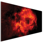 Orange Nebula Modern Space Acrylic Glass Wall Art - XL 140cm x 70cm