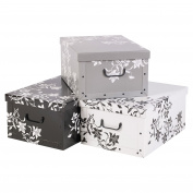 3 Underbed Collapsible Cardboard Storage Boxes Lightweight With Lids & Handles