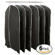 EZOWare Set of 6 Foldable Breathable Garment Bag Storage Cover Bag Protector for Suit, Coat, Fur Outfit, Leather Jacket, Top Shirt, Tuxedo and More Clothes- Black with Grey Trim