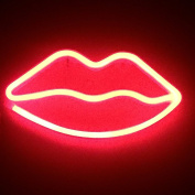 Lip Neon Signs LED Decor Night Light Wall Decor for Christmas Decoration Birthday Party Home LED Decorative Lights Wedding Event Banquet Party Decor, Battery and USB Power