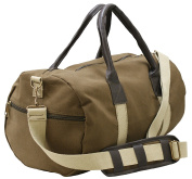 Army Vintage Canvas Duffle Leather Leatherette Carry Shoulder bag Handbag Travel Gym Sports Bags Luggage