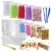 Biging 15 Pack Slime Making Kit Including Fishbowl Beads, Foam Balls, Slime Storage Containers, Confetti, Fruit Slice, Slime Tools and Wooden Spoon for Slime Making Art DIY Craft