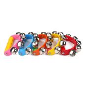 Tourwin Alloy 5 Jingle Bells Sleigh Bells Instrument on Plastic Handle for Baby Kids Random Delivery