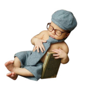 Newborn Photography Props Baby Boy Girl Photo Crochet Knitted Costume Outfits Hat Glasses Tie Pants