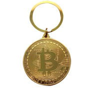 Bitcoin Coin Keyring ,AmaMary Vintage Key Ring with Plated Bitcoin Coin Pendant for Keys Great Collectible Gift Art Collection for Friend Family