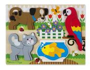 Melissa & Doug Pets Wooden Chunky Jigsaw Puzzle - Dog, Cat, Bird, and Fish