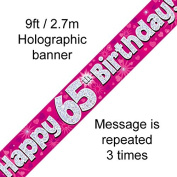 65th Birthday Pink Holographic Banner by Signature Balloons