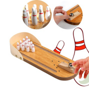 Desktop Bowling,Twshiny Mini WoodenTabletop Bowling Game Set Home Office Toy for Adults and Kids