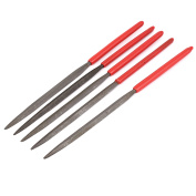 3mm x 140mm Red Plastic Coated Handle Triangle Files Hand Tool 5 Pcs