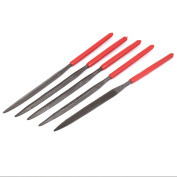 Red Plastic Coated Handle Flat Pointed Files Hand Tool Dark Grey 5 Pcs