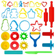 Kiddy Dough 24-Piece Tools Play Dough & Clay Party Pack w/Animal Shapes – Mega Tool Playset Includes 24 Colourful Cutters, Moulds, Rollers & Play Accessories + 2 BONUS Surprise Extruders