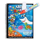 Water Drawing Book Fairydreamy Unisex Kids Magic Reusable Waterpainting Colouring Book with Water Pen Graffiti Painting for Toddlers